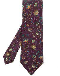 Etro Floral-motif Tie - Paars