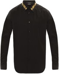 Versace Shirt Met Decoratieve Kraag - Zwart