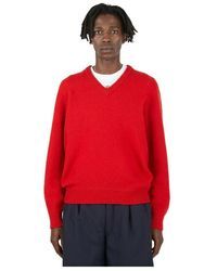 Lemaire Seamless V-neck Sweater - Rood