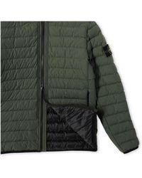 Stone Island O-Cotton/R-Nylon Tela Mid Length Hooded Jacket Verde