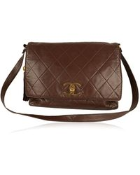 Chanel Vintage Quilted Large Messenger Bag - Bruin