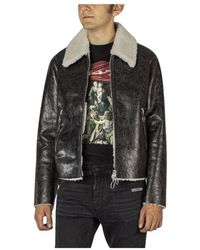 Off-White c/o Virgil Abloh Leather Jacket With Wool Lining - Zwart