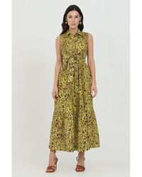 Pinko - Vestido Amarillo - Lyst
