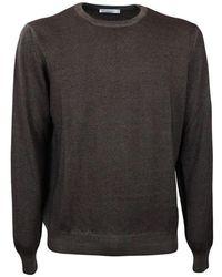 Gran Sasso Men's Crew Neck Sweater - Bruin