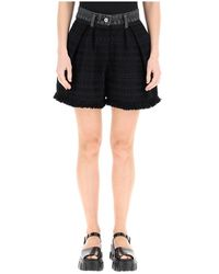 Sacai Tweed And Denim Shorts - Zwart
