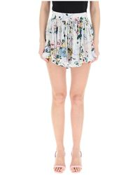 Alessandra Rich Floral Print Shorts - Wit