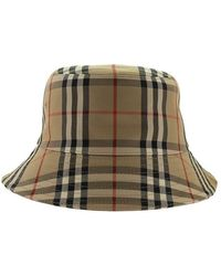 Burberry Vintage Controleer Cotton Blend Bucket Hat - Naturel
