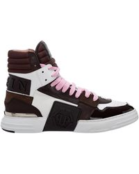 Philipp Plein High top leather trainers sneakers phantom kicks - Marrón