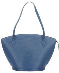 Louis Vuitton Epi Saint Jacques Gm Leer Met Lange Riem - Blauw