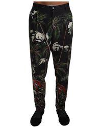 Dolce & Gabbana Linen Volcano Print Trousers Pants - Nero