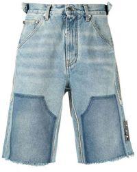 Off-White c/o Virgil Abloh Frayed-edge Denim Shorts - Blauw