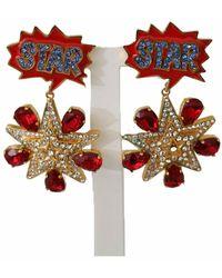Dolce & Gabbana Brass Star Clear Crystal Clip-on Dangle Earrings - Rood