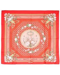 Hermès Printed Silk Scarf - Rood