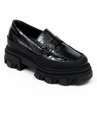 Ganni - Belly Croc Chunky Loafers Negro - Lyst