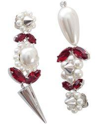 Simone Rocha Pearl & Spike Earrings - Wit