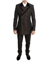 Dolce & Gabbana Double Breasted Slim Fit Suit - Bruin