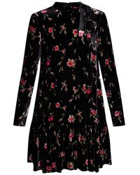 RED Valentino Valentino Garavani Velvet Dress With Standing Collar - Zwart