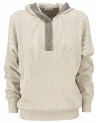 Brunello Cucinelli English Rib Hooded Sweater With Precious Contour - Naturel