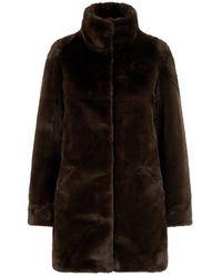 Vero Moda Lange Jas Faux Fur - Bruin