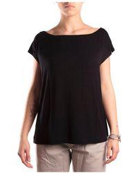 Majestic Filatures T-shirt scollo a barca senza manica - Negro