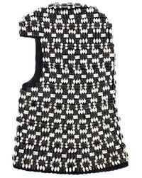 Dolce & Gabbana Crystal Runway Crochet Hood - Zwart