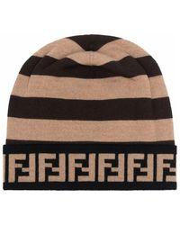 Fendi Logo-stripe Beanie - Bruin
