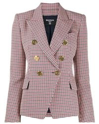 Balmain Houndstooth Double-breasted Wool Blazer - Rosso