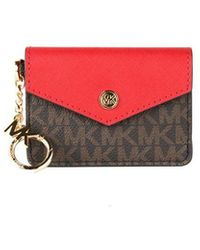 Michael Kors Kala Small Signature Leather Flap Key Ring Card Case - Rood