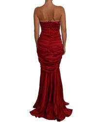 Dolce & Gabbana Ruched Satin Meraid Maxi Dress Rojo