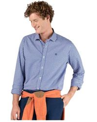 El Ganso Camisa marca cuadro vichy marino de manga larga - Blu