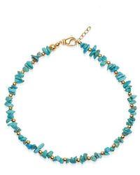 Nialaya Women's Beaded Choker With Turquoise And Gold - Blauw