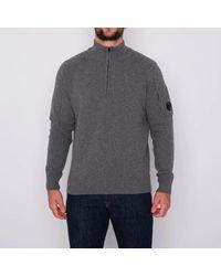 C.P. Company Lambswool Lens Half Zip Sweater Gris