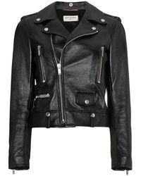 Saint Laurent Leather Biker Jacket - Zwart