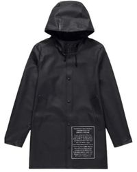 Stutterheim Stockholm Text Print Raincoat - Zwart