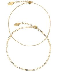 Orelia Curb And Figaro Chain Anklet - Geel