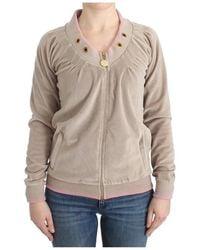 Roberto Cavalli Velvet zipup sweater - Neutro