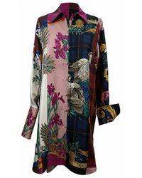Ferragamo Patchwork Silk Printed Long Line Shirt Size 44 It - Roze