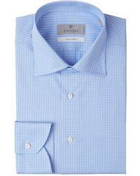 Canali Checked Cotton Shirt - Blauw