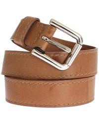 Dolce & Gabbana Leather Logo Wide Buckle Belt - Bruin