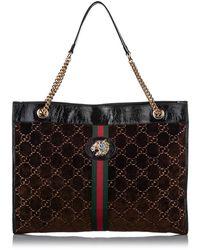 Gucci Large GG Velvet Rajah Tote Bag - Bruin
