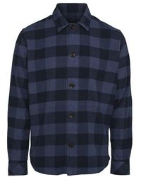 Knowledge Cotton Apparel Brushed Checked Flannel Shirt 100 Check - Blauw
