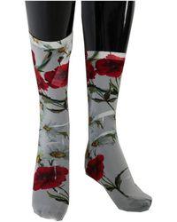 Dolce & Gabbana Floral Roses Socks - Wit