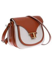 Tod's Leather And Canvas Bag With Golden Buckle - Bruin