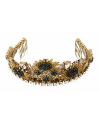 Dolce & Gabbana Tiara Black Crystal Floral Sunflower Diadem - Oranje
