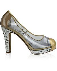 Chanel Vintage Clear Vinyl Golden Cap Toe Silver Heels Platform Pumps Size 38 - Neutre