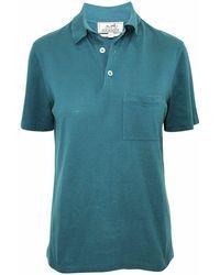 Hermès Playera tipo polo con bordado h de segunda mano - Azul