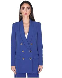 Elisabetta Franchi Double Breasted Jacket - Blauw
