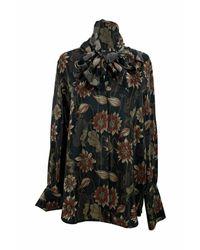 Ferragamo Zijden Bloemenprint Pussybow Shirt Maat 42 It - Zwart
