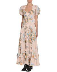 Alexander McQueen Vestido Estampado Floral Beige - Neutro