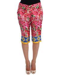 Dolce & Gabbana Bloemen Knee Capris Broek - Roze